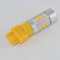 Автомобильная LED лампа SLP LED в задние фонари с цоколем 3157(P27/7W)(3757)(W2/5*16q) 27 2835 led Желтый, фото 3