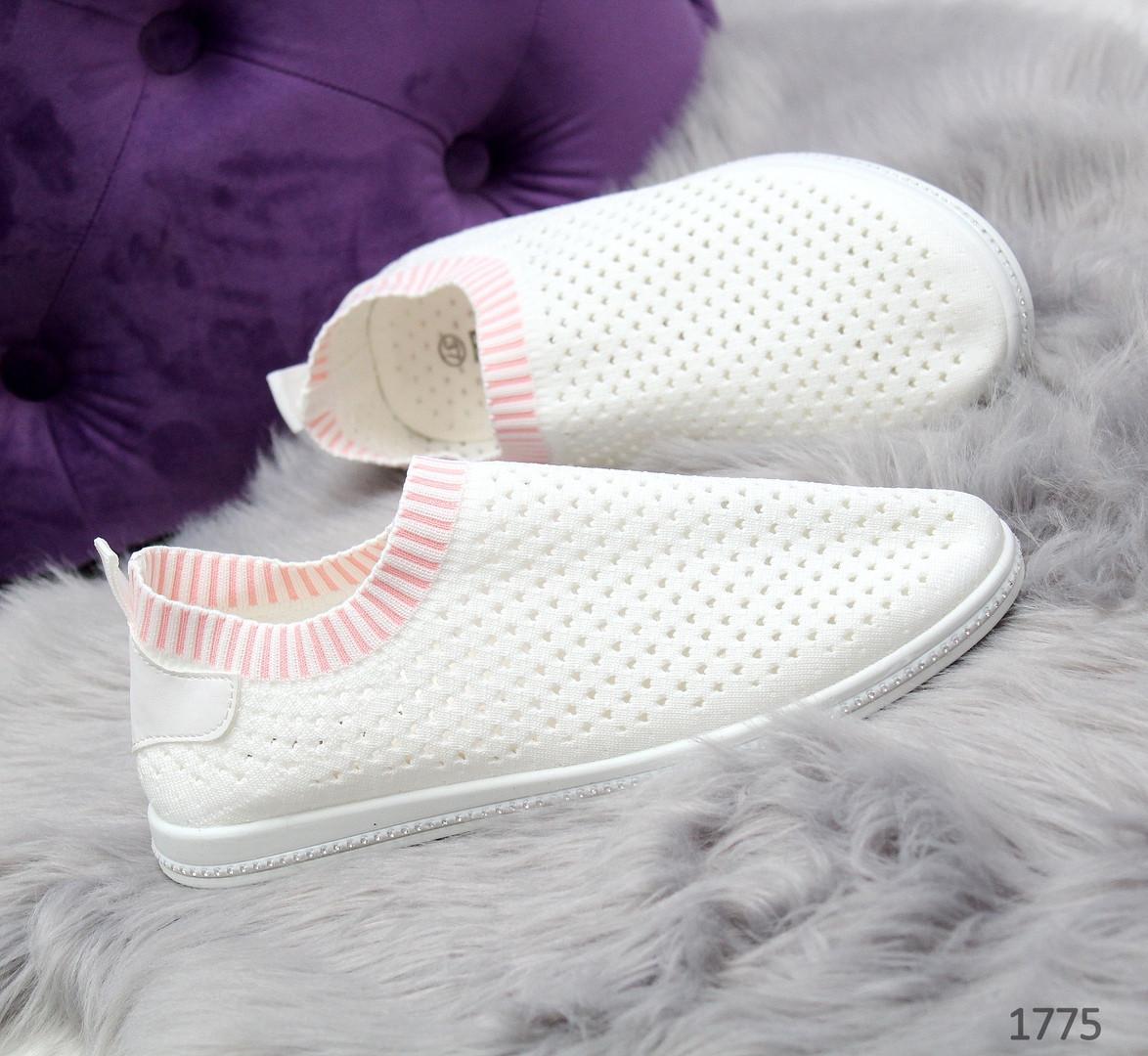 26c5f36e3fd Мокасины носки спортивные женские текстильные белые с розовым - VK-Style в  Киеве