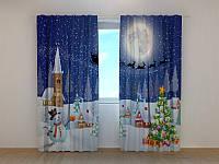 Фотошторы Рождество 250 х 260 см новогодние фото штори с рисунком шторы в детскую