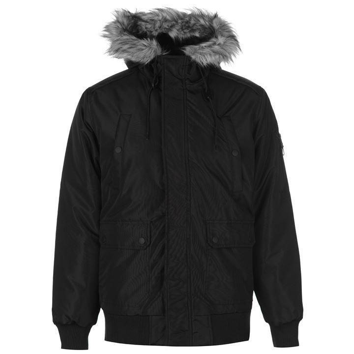 Мужская зимняя куртка бомбер Fabric Plain Bomber черная оригинал