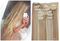 Волосы трессы ТЕРМо на заколках набор из 7 прядей длина 65 см №16Р613 мелирование пепельный (бежевый) +  блонд