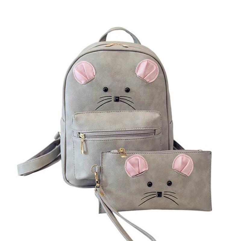 Набор рюкзак с ушками Мышка с кошельком Topshine серый (466)
