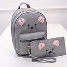 Набор рюкзак с ушками Мышка с кошельком Topshine серый (466), фото 5