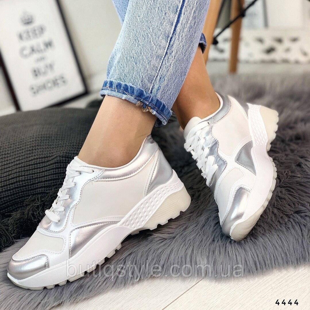 39 размер Кроссовки женские белые с серебром на платформе эко-кожа + обувной текстиль