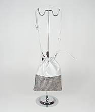Сумка-мешок женская серебристая Polina & Eritreou 8586