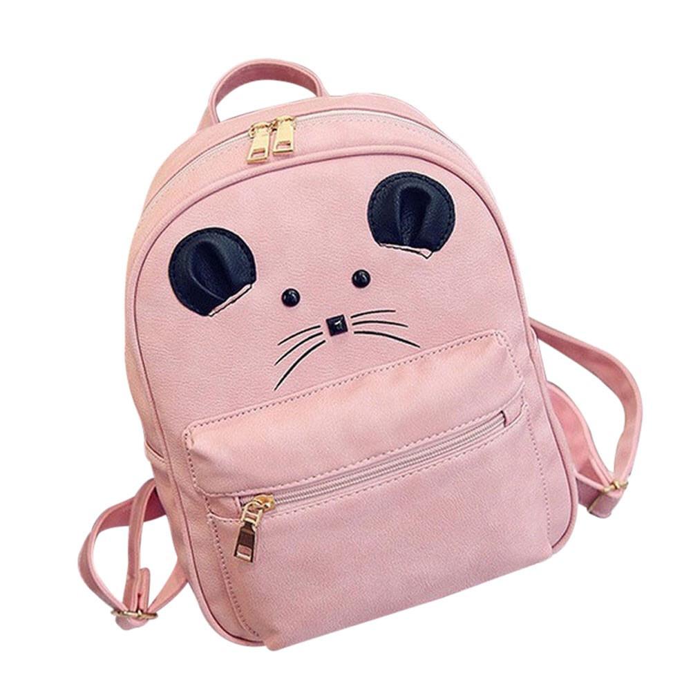 Набор рюкзак с ушками Мышка с кошельком Topshine розовый (466)