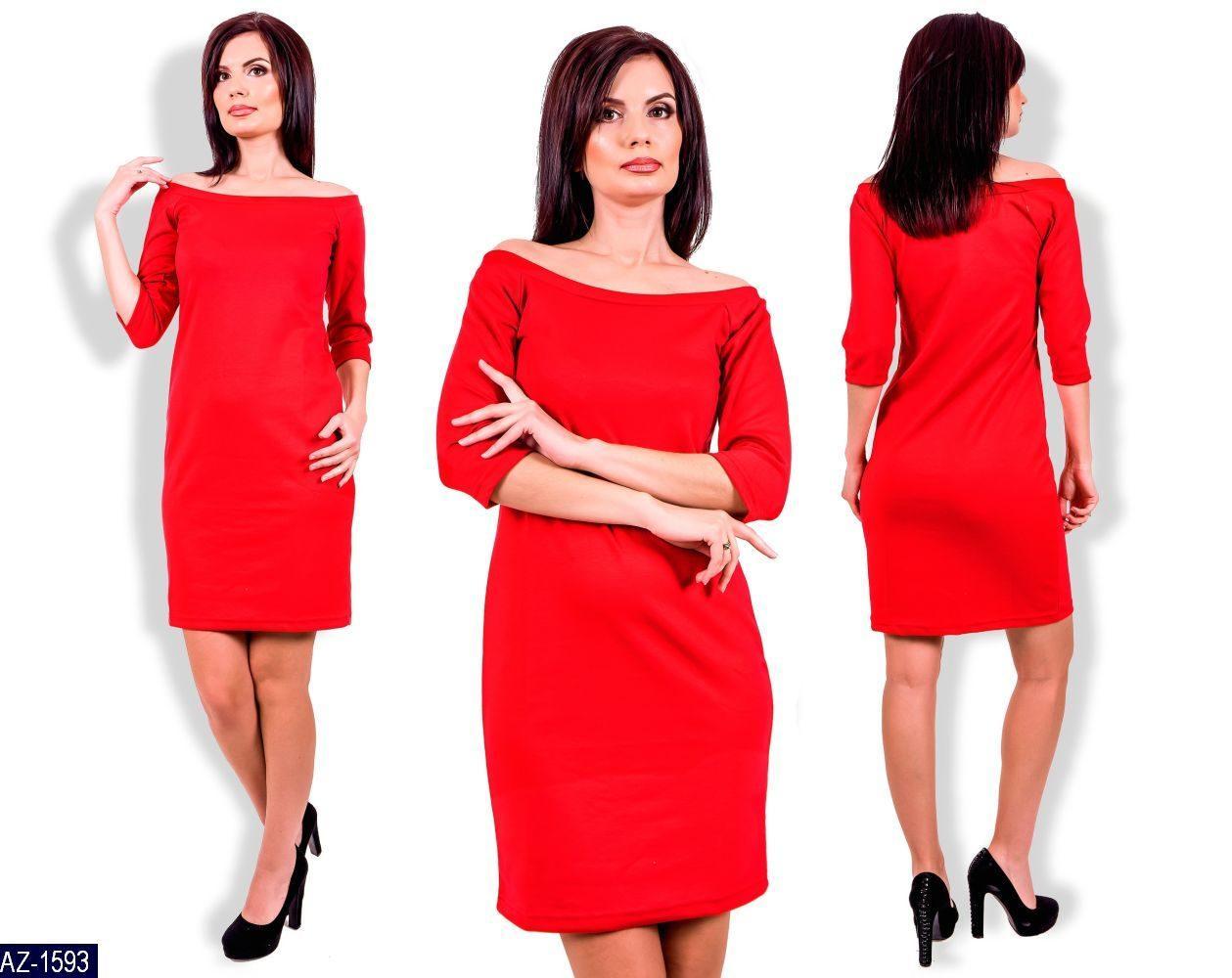 Платье женское красное с открытыми плечами . Размер 42-44, 44-46 Ткань французский трикотаж