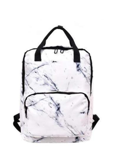 Мраморный рюкзак для девочки Mojoyce белый.(AV169)