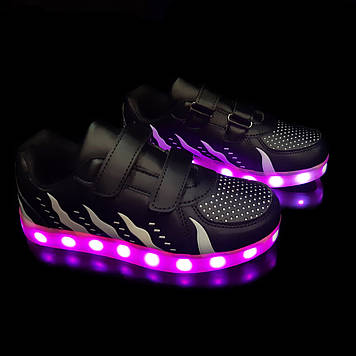 Кроссовки светящиеся детские Black W81