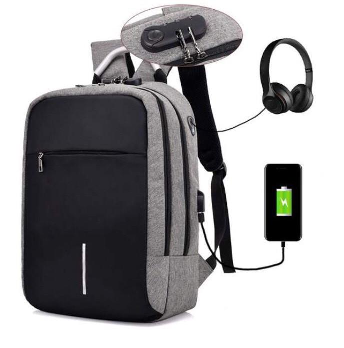 Рюкзак  для ноутбука с USB портом Aizhiyi тёмно серый (AV 167)