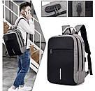 Рюкзак  для ноутбука с USB портом Aizhiyi тёмно серый (AV 167), фото 2