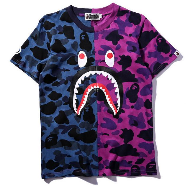 Футболка Bape сине-фиолетовая (бейп с принтом акулы мужская женская)