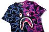 Футболка Bape сине-фиолетовая (бейп с принтом акулы мужская женская), фото 3