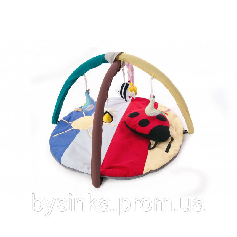 """Коврик игровой """"Божья коровка"""" с дугами и подвесными игрушками"""