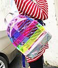 Прозрачный рюкзак в полоску Enjoinin серебро (AV118), фото 4