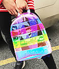 Прозрачный рюкзак в полоску Enjoinin серебро (AV118), фото 5