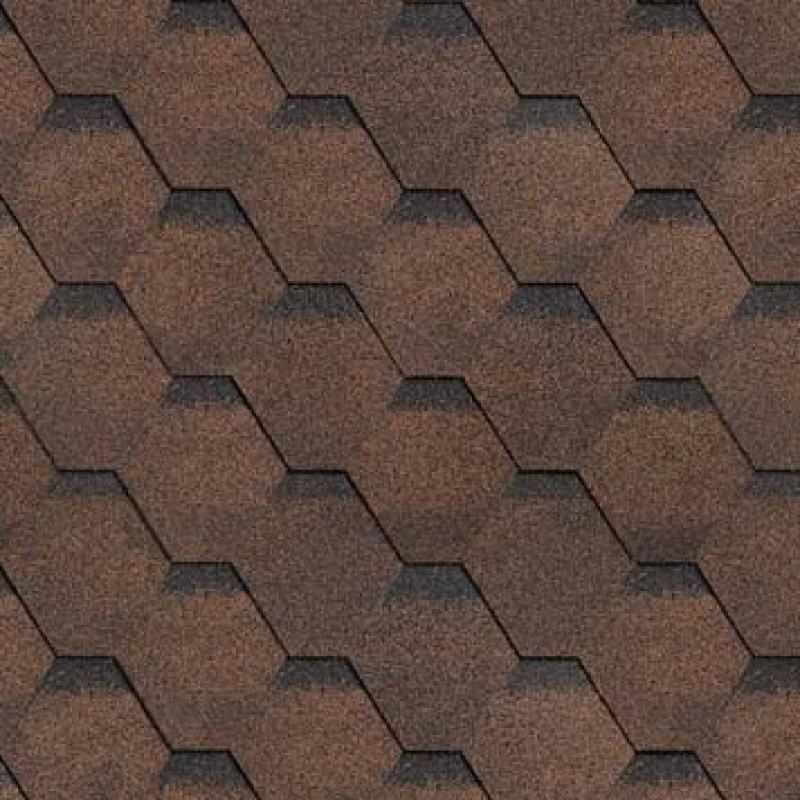 Битумная черепица Шинглас Roofmast Соната, коричневая