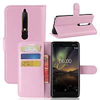Чехол-книжка Litchie Wallet для Nokia 6 2018 / Nokia 6.1 Светло-розовый, фото 1