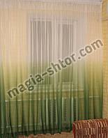 Тюль зеленая растяжка. Шифон, фото 1