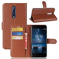 Чехол-книжка Litchie Wallet для Nokia 8 Коричневый