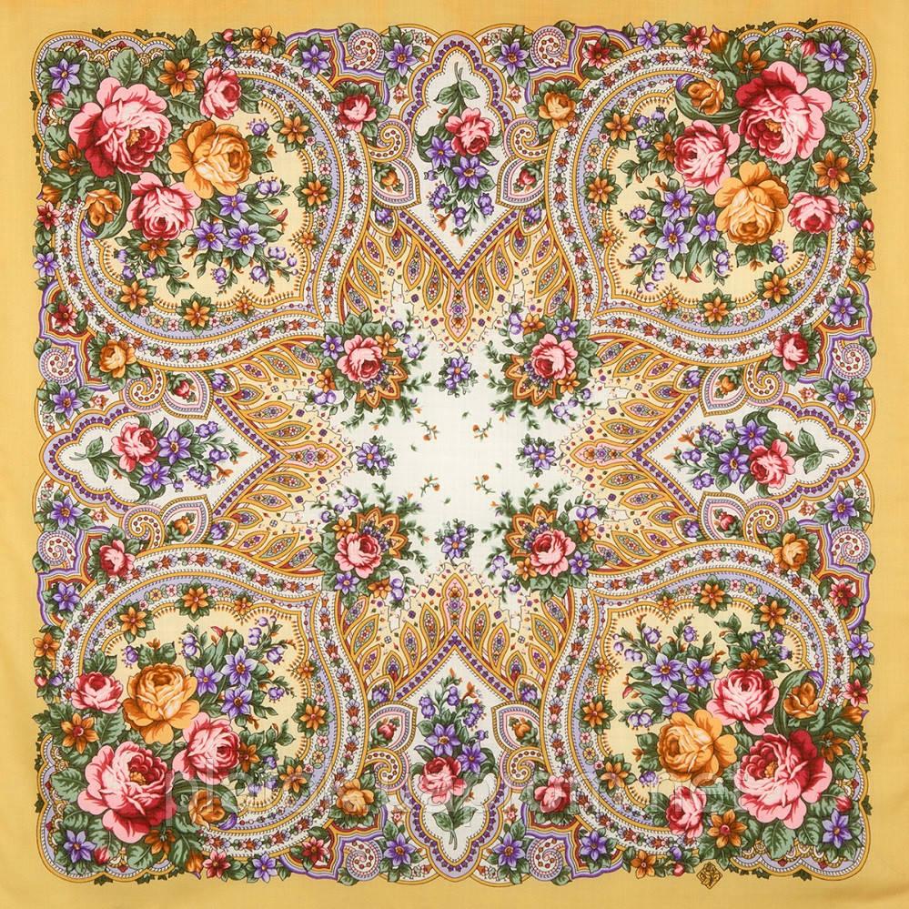 Весенние зори 1706-2, павлопосадский платок шерстяной с шерстяной бахромой