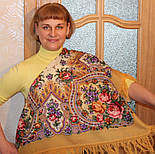 Весенние зори 1706-2, павлопосадский платок шерстяной с шерстяной бахромой, фото 4