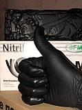 Рукавички SFM BLACK nitrile, чорні нітрилові оглядові нестерильні, неопудрені, фото 3