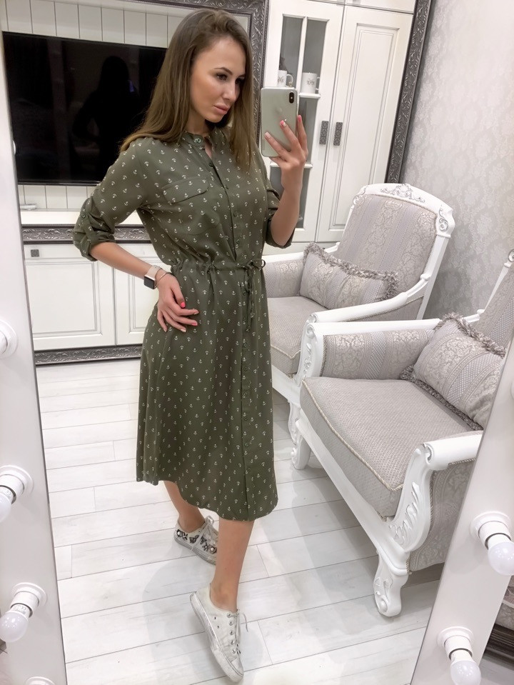 42ba3bd1570 Летнее Платье-рубашка Миди Из Штапеля 33032630 — в Категории