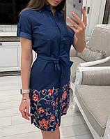 d68d9acbfda Джинсовое платье-рубашка с коротким рукавом и вышивкой 33032631