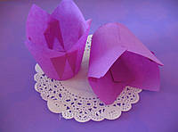 Бумажные формы (Тарталетки) для кексов, капкейков Фиолетовые тюльпан