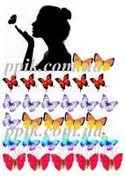 Вафельная картинка Девушка с бабочками