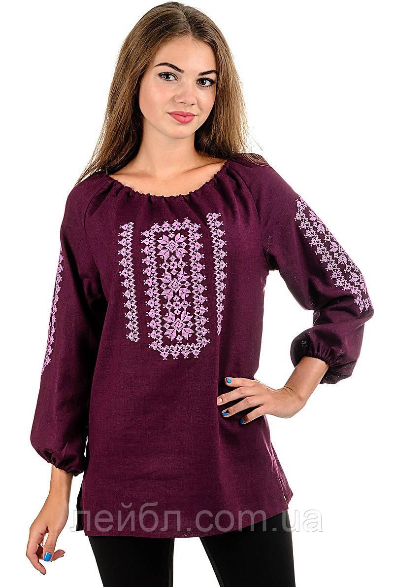 Модная женская вышиванка Орнамент, бордо