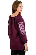 Модная женская вышиванка Орнамент, бордо, фото 2