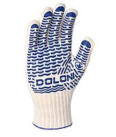 Рукавички Doloni Універсал трикотажні, з ПВХ, білі, розмір 10