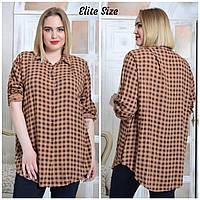 2c911cc0948 Женская клетчатая рубашка в больших размерах удлиненная 6151683