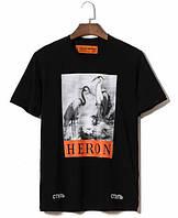 Чёрная футболка Heron Preston (херон престон с цаплями мужская женская)
