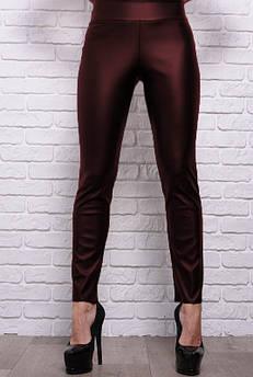 Кожаные облегающие брюки Лиора, бордовые
