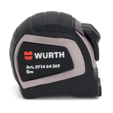 Рулетка карманная корпус с резиновым покрытием 3 м, 5 м, 8 м, Wurth