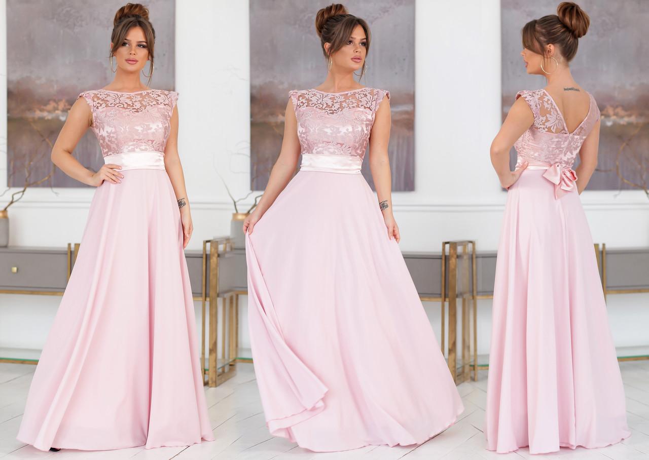 """Элегантное длинное вечернее платье 2129 """"Шифон Атлас Сетка Вышивка Макси"""" в расцветках"""