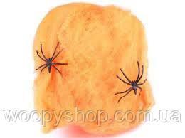 Паутина оранжевая. Декор +2 паука в подарок