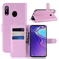 Чехол-книжка Litchie Wallet для Samsung Galaxy M20 Светло-розовый, фото 1