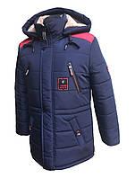 Зимняя удлиненная куртка-парка на мальчика подростка на овчине 36-46 рр