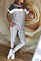 Хит сезона! Женский спортивный костюм штаны с лампасами и кофта футболка с люрексом серый 42 44 46 48, фото 1
