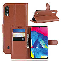 Чехол-книжка Litchie Wallet для Samsung Galaxy M10 Коричневый, фото 1
