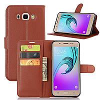 Чехол-книжка Litchie Wallet для Samsung Galaxy J7 2016 (J710) Коричневый