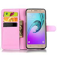 Чехол-книжка Litchie Wallet для Samsung Galaxy J7 2016 (J710) Светло-розовый, фото 1