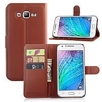 Чехол-книжка Litchie Wallet для Samsung J700 Galaxy J7 Коричневый, фото 1