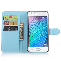 Чехол-книжка Litchie Wallet для Samsung J700 Galaxy J7 Голубой, фото 1