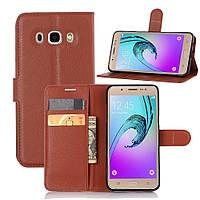 Чехол-книжка Litchie Wallet для Samsung Galaxy J5 2016 (J510) Коричневый, фото 1