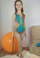 Гимнастический купальник с юбочкой и стразами для соревнований 122-128